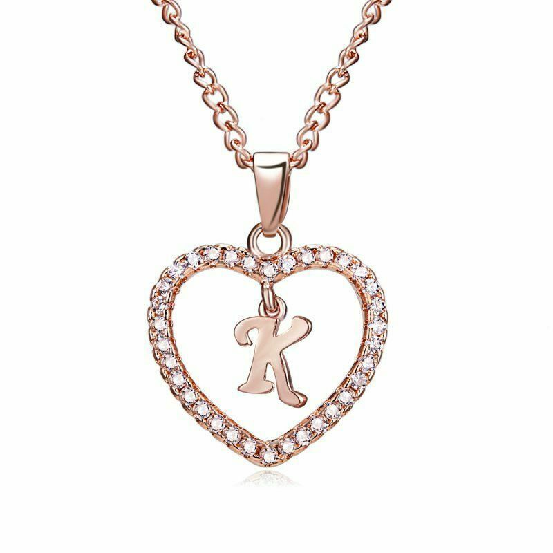 Details about  /Sterling Silver Cubic Zirconia Set 18mm High Initial K Pendant