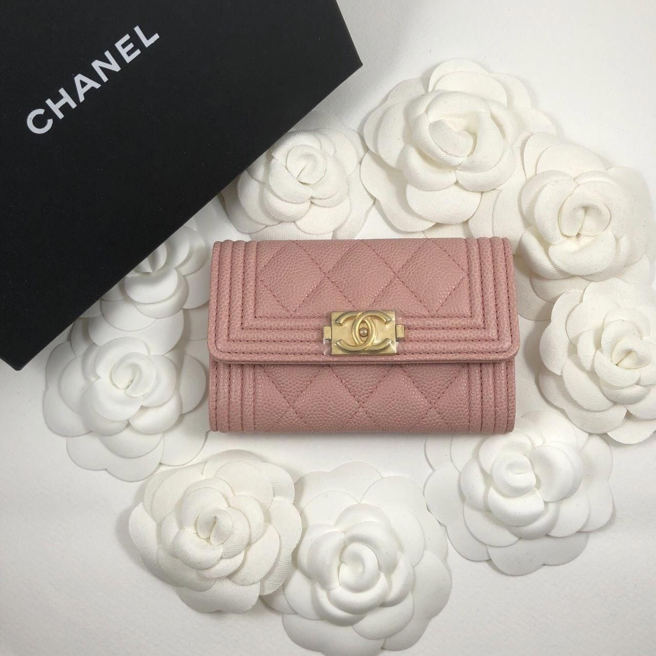 ca0579b1b5b9 Pink Chanel Boy Card Holder 😍 #Chanelhandbags | Chanel handbags in ...
