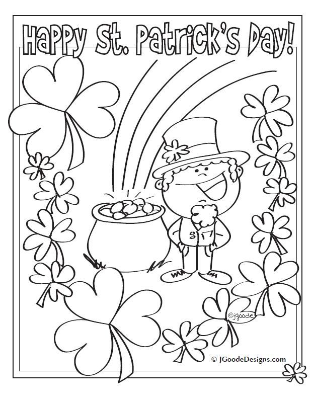 St Patricks Day Leprechaun Lucky Clover and Pot of Gold coloring – Free Printable St Patrick Day Worksheets