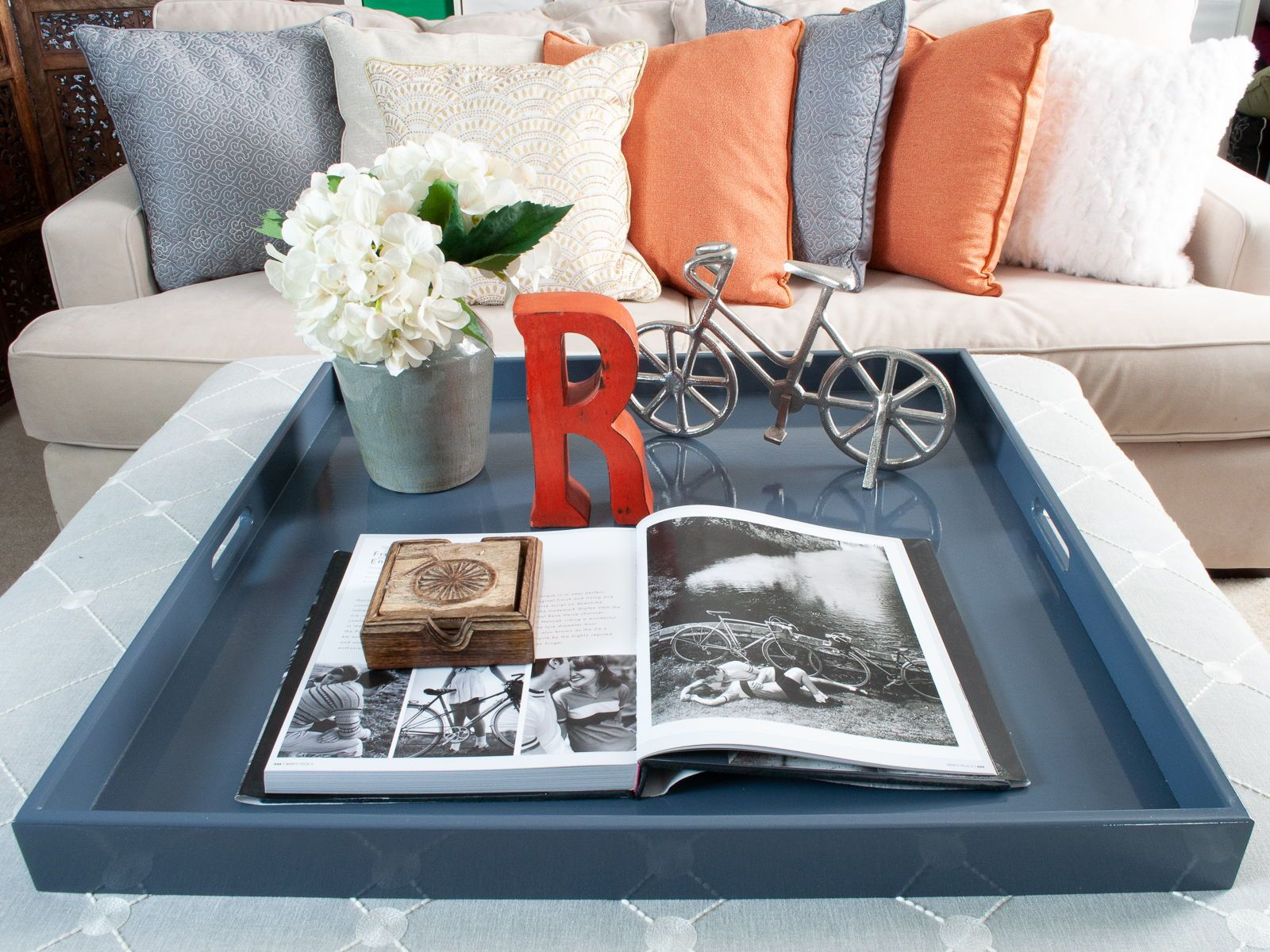 Stunning In Slate And The Perfect Ottoman Tray Or Coffee Table Tray For Displaying Your Favorite Things We Are Love It U With Images Ottoman Tray Decor Large Ottoman Tray