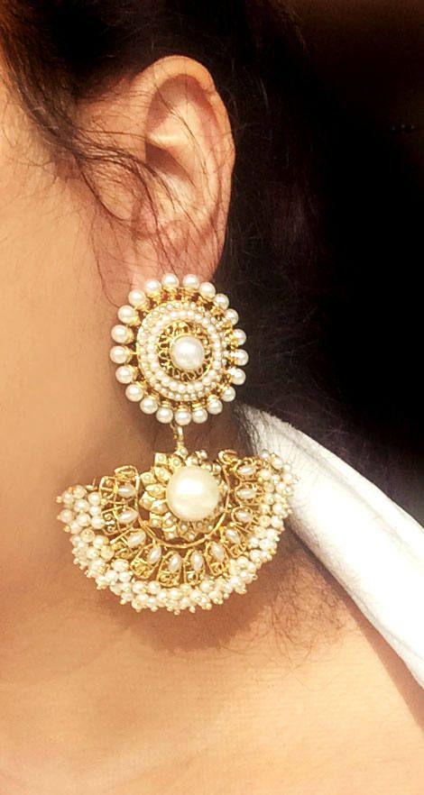 Bridal Pearl Chandelier Earrings,Victorian gold Earrings,18K Gold ...