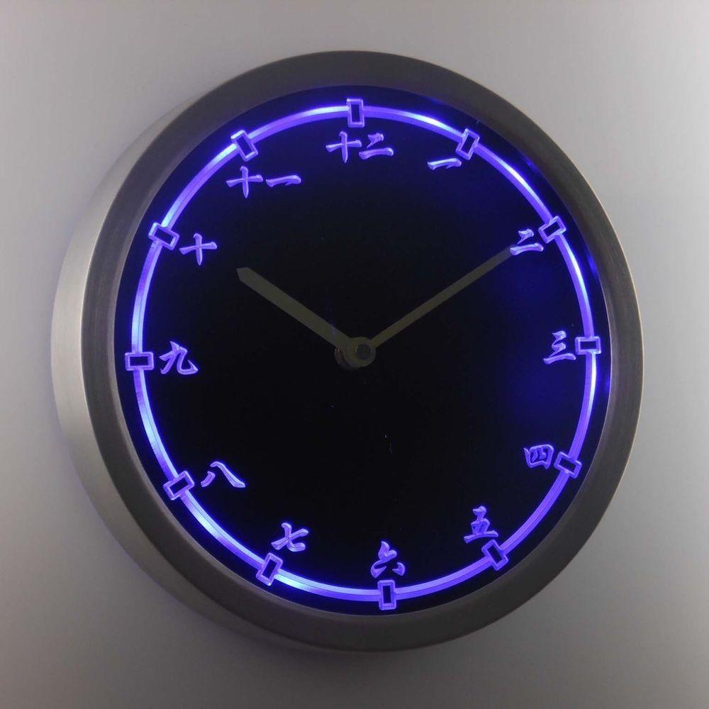 Nc0955 B Chinese Japanese Numerals Kanji Neon Sign Led Wall Clock Led Wall Clock Wall Clock Clock