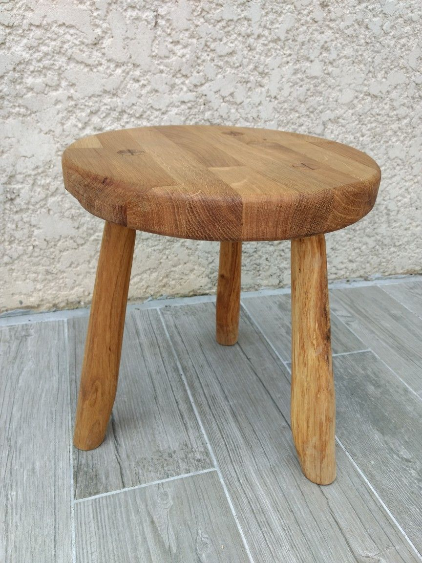 Amazing Three Legged Stool Paul Sellers Style Oak Recycled Machost Co Dining Chair Design Ideas Machostcouk