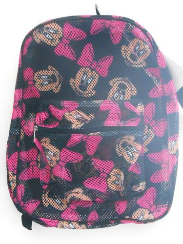 fb8d1f3f2e7 Disney Mickey Minne Mouse Heads Mesh Backpack Bookbag In Disney