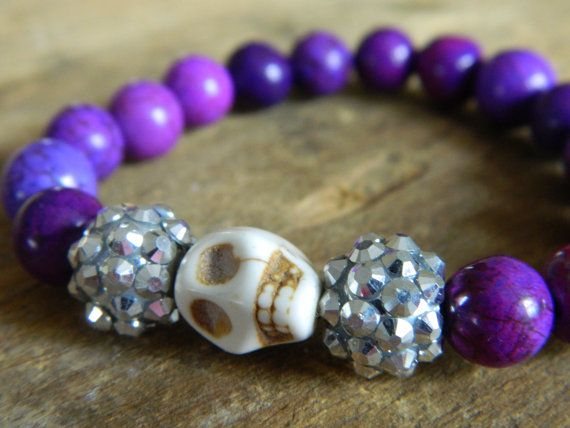 Purple Skull Bracelet on Etsy, $17.00