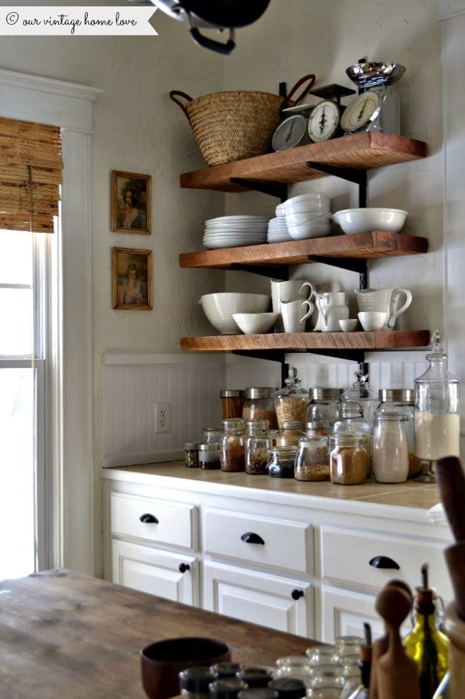 A Kitchen With Vintage Character: Simple, Open Farmhouse Shelving