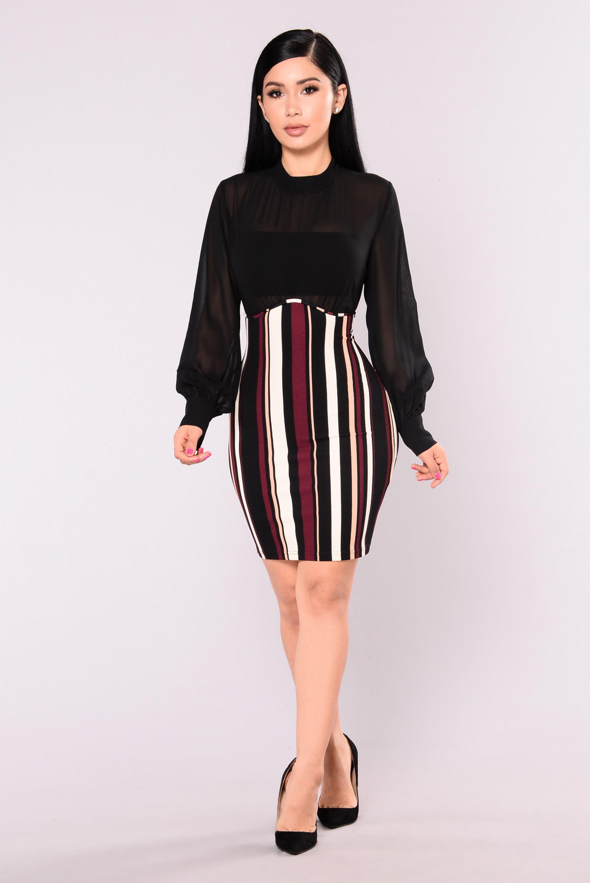 Amie Striped Dress Black Striped dress, Dresses, Fashion