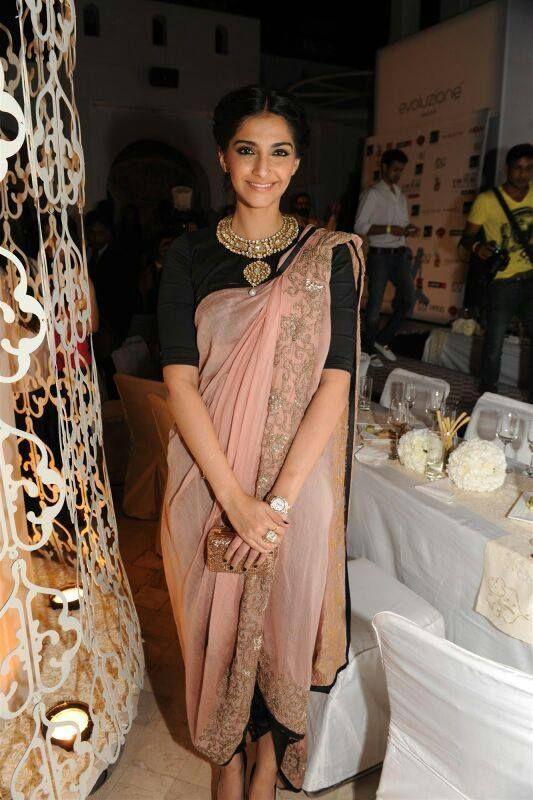 24d8459c85fd70 Sonam Kapoor in a dhoti pant sari. | Desi | Sonam kapoor saree ...