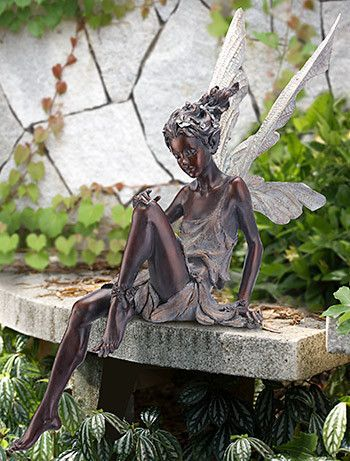 Azray   Bronze Color   Sitting Fairy Statue   Ships Separately