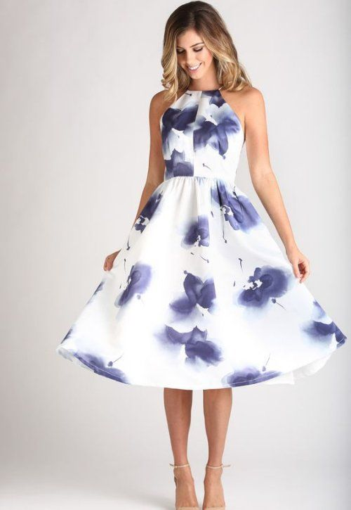 b3ca9ed2772 Floral summery date night outfit with white floral midi dress and nude high  heels  summer