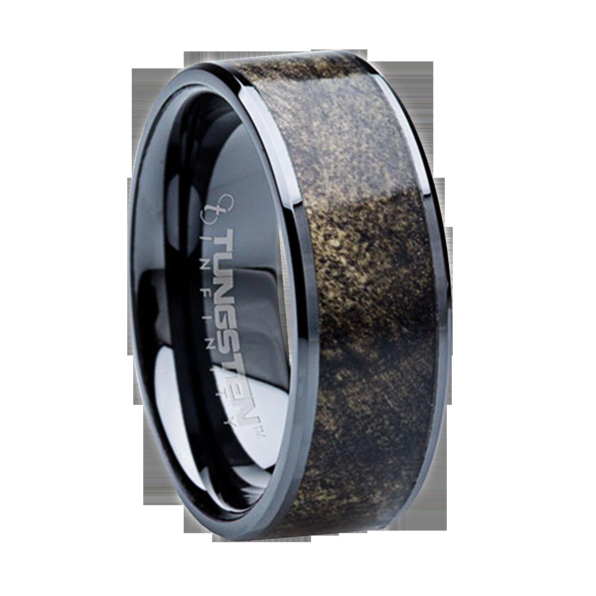 Mens Wedding Bands 8 mm Tungsten Carbide with Buckeye