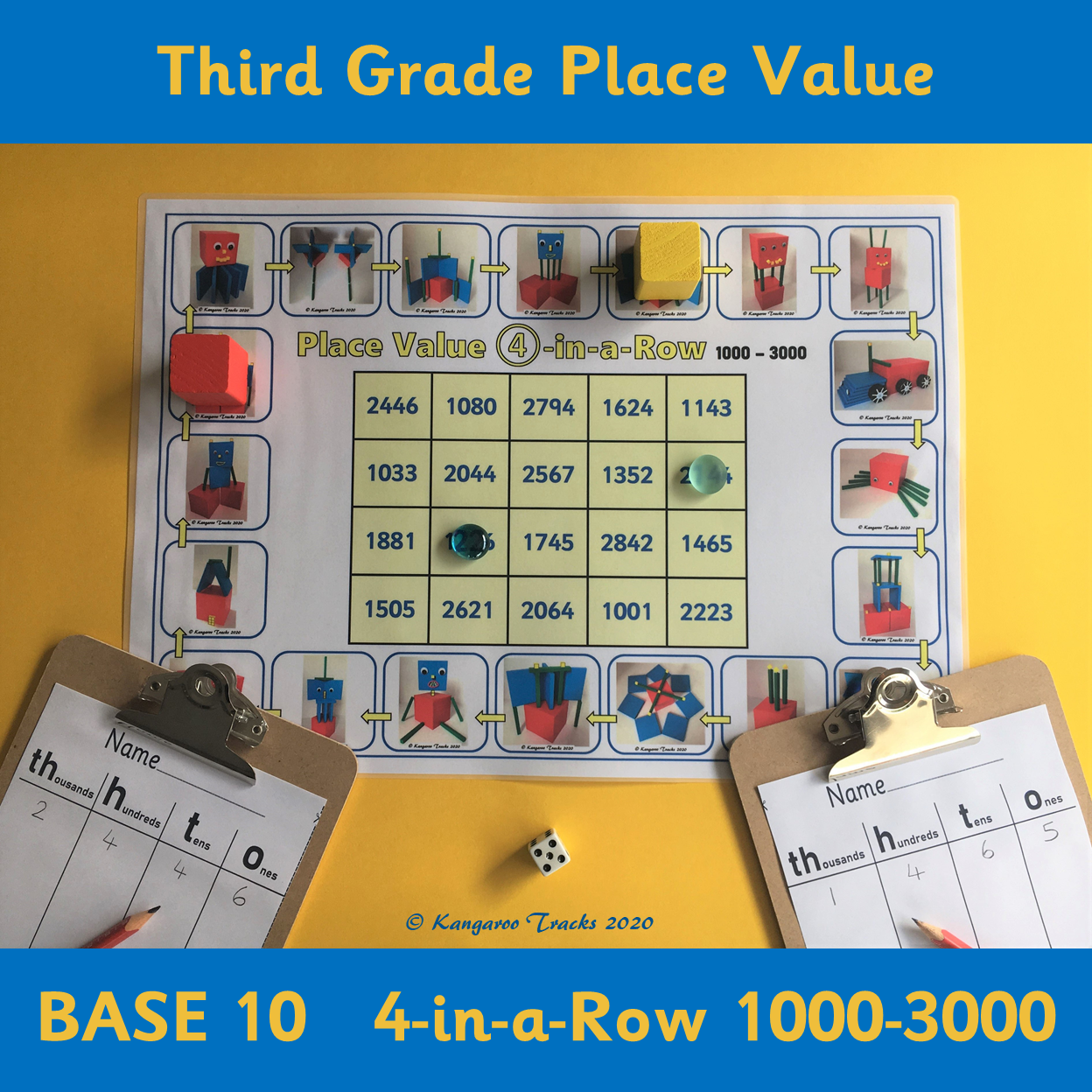 Place Value 4 In A Row 3rd Grade Base 10 In