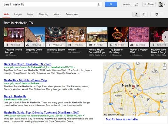 Carousel - Google SERP for Bars in Nashville