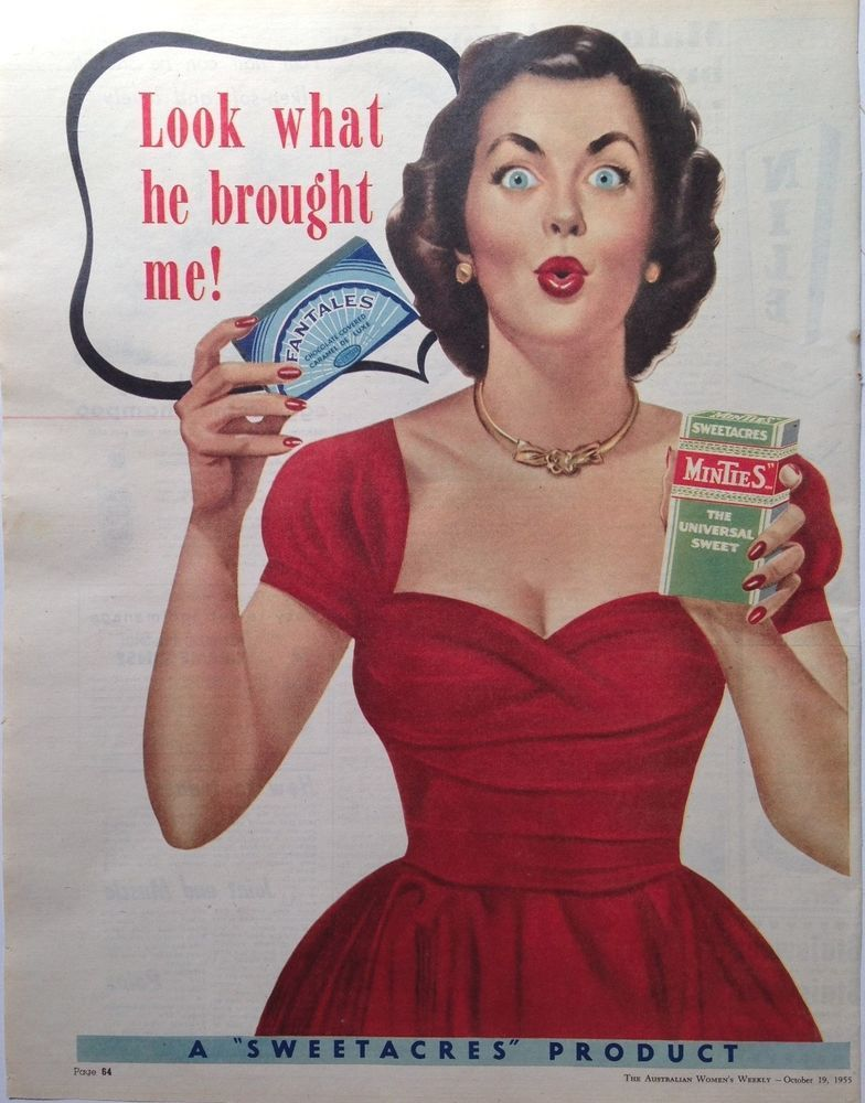 Sweetacres fantail minties ad retro box 1955 original for Classic housewife