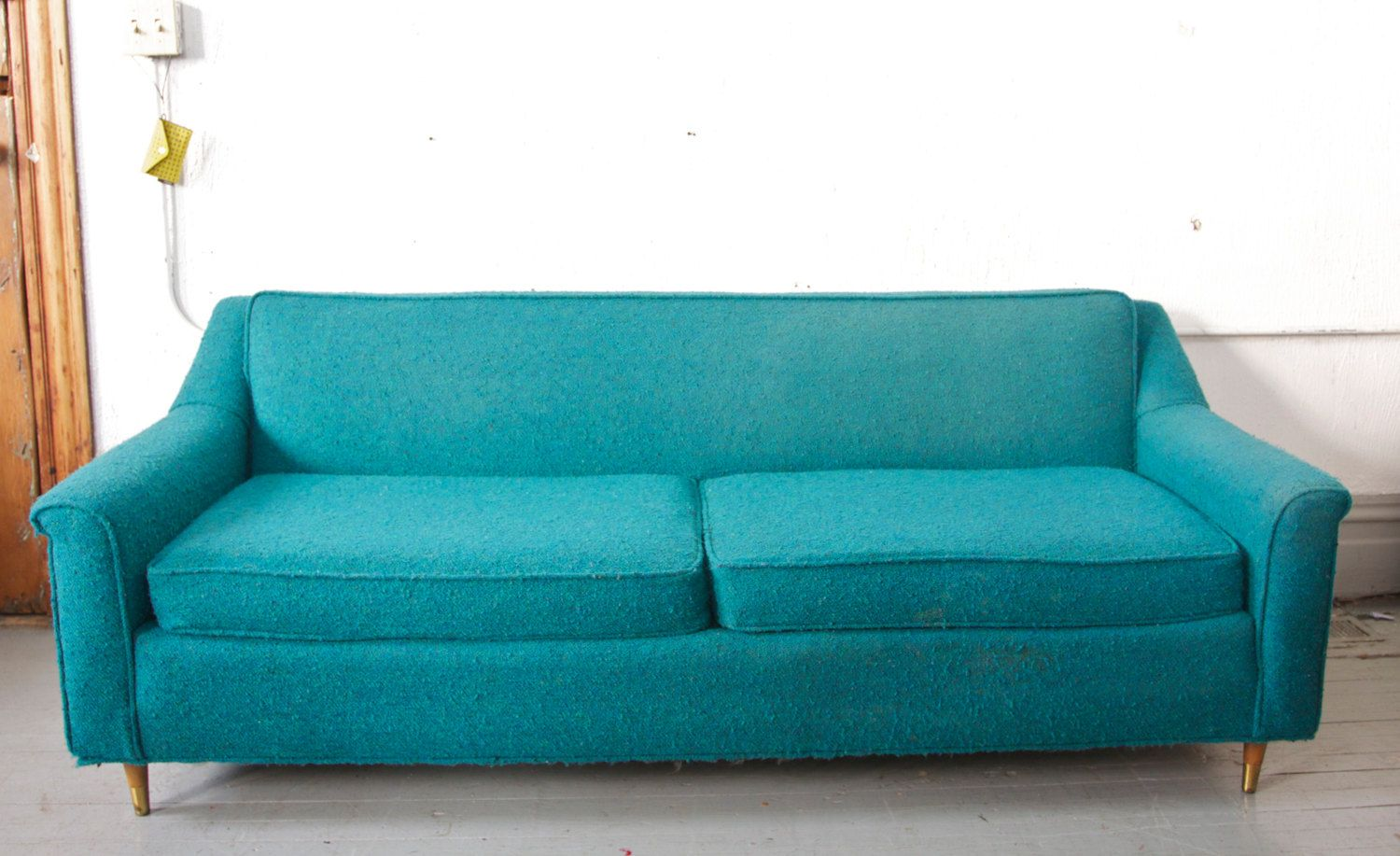 Mid Century Modern Teal Turquoise Sofa Couch Loveseat