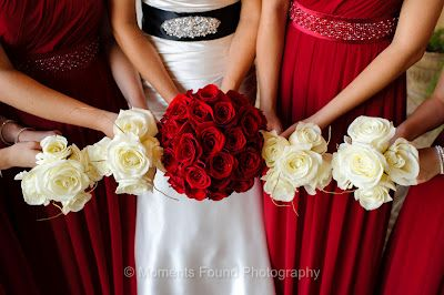Red And White Rose Bride And Bridesmaid Bouquets Moments Found