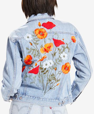 6ce61f8662 Levi's® Limited Ex-Boyfriend Embroidered Cotton Denim Trucker Jacket,  Created for Macy's | macys.com