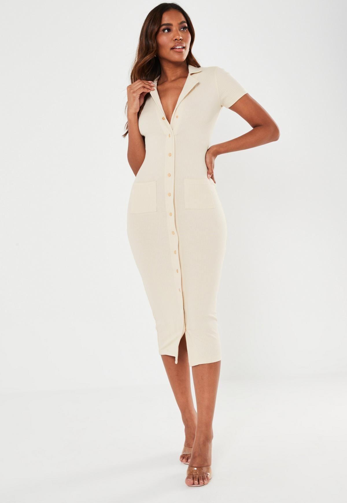 Cream Rib Short Sleeve Popper Midi Dress Missguided Midi Short Sleeve Dress Trending Dresses Women Dress Online [ 1739 x 1200 Pixel ]