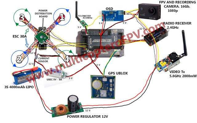 Apm Connections With Gps Osd And Telemetry Quad Copter Thingz Rhpinterest: Quadcopter Power Distribution Board Wiring Diagram At Gmaili.net