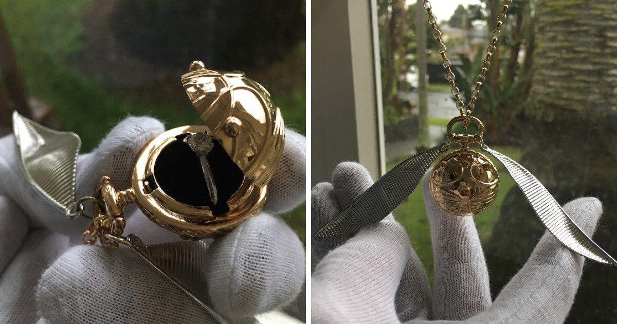 Golden snitch engagement ring holder bored panda