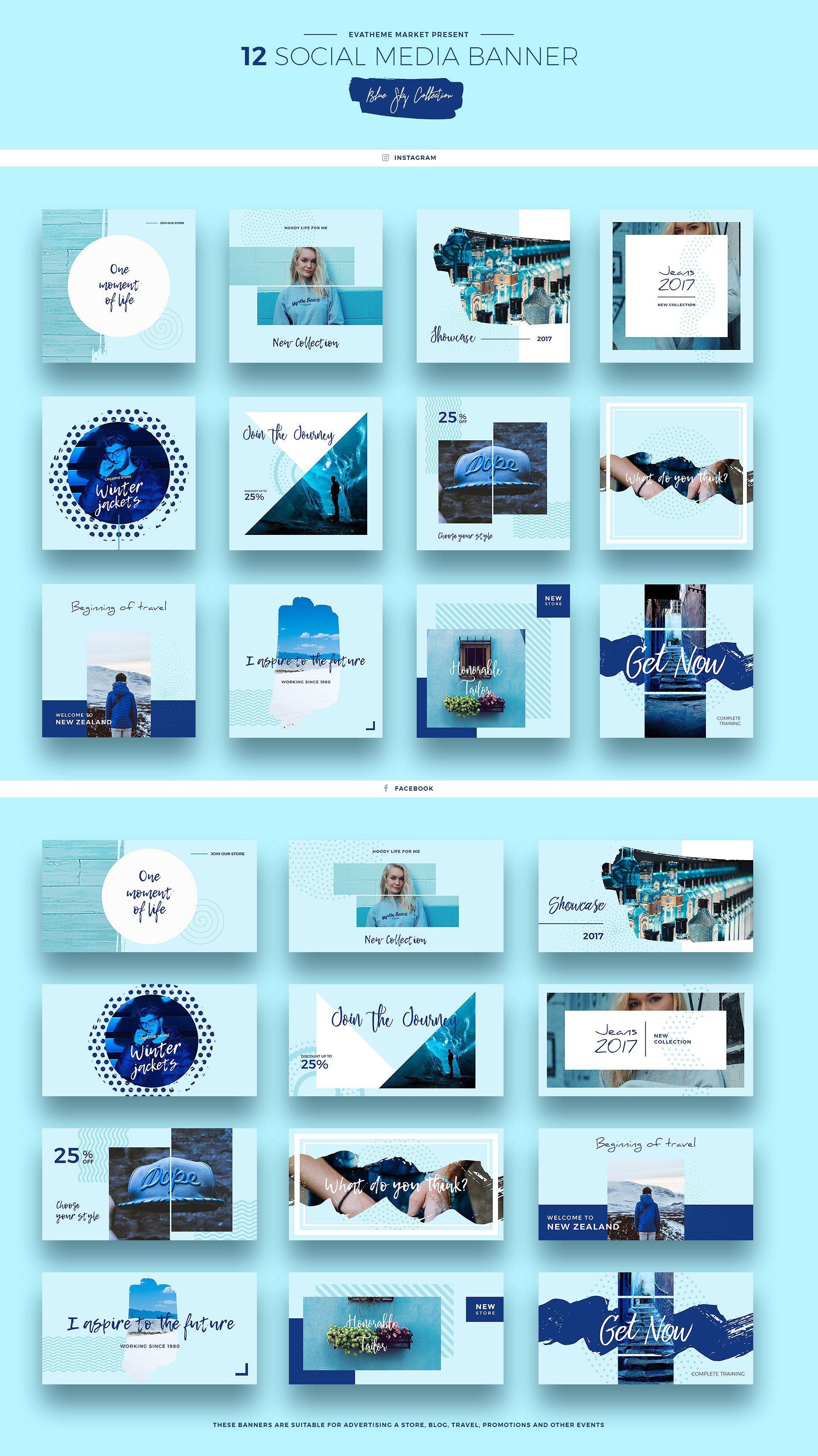 Blue Sky Social Media Designs Social Media Design Social Media Design Inspiration Instagram Template Design