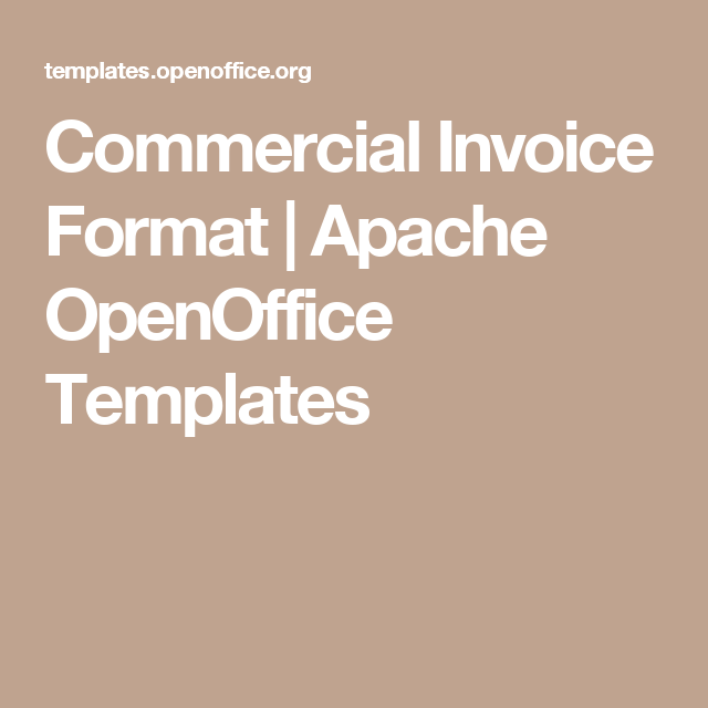 Commercial Invoice Format  Apache Openoffice Templates  Business