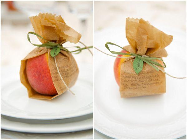 Peach place card/favor. A cute idea. >> Very sweet!