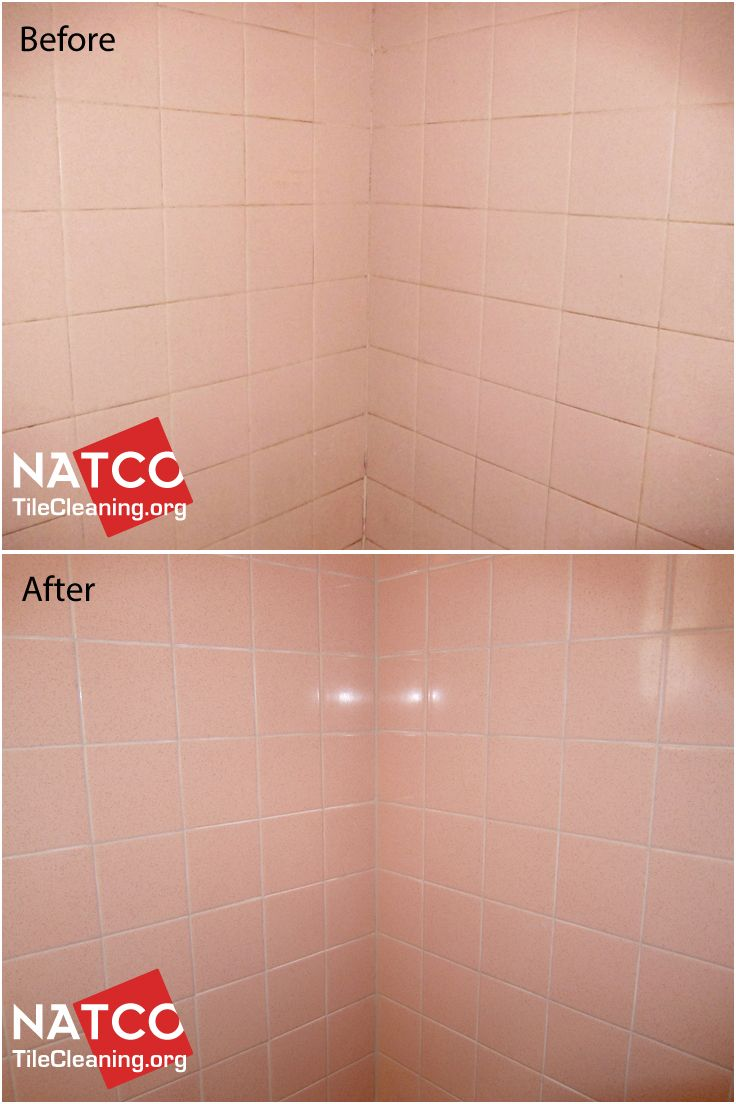 regrouting old style pink shower tiles