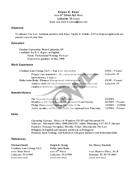 Owl 3 Resume Format Internship Resume Writing Lab