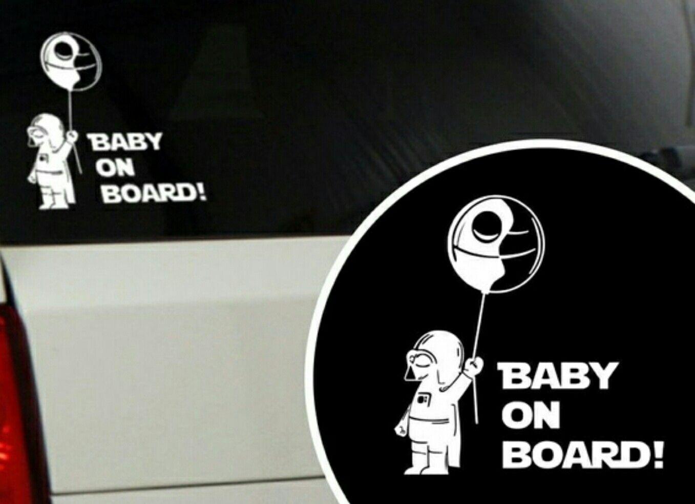 Baby On Board Star Wars Themed Little Babe Car Sticker Starwars Darthvader Deathstar Geek Nerd Naklejki Kartinki [ jpg ]