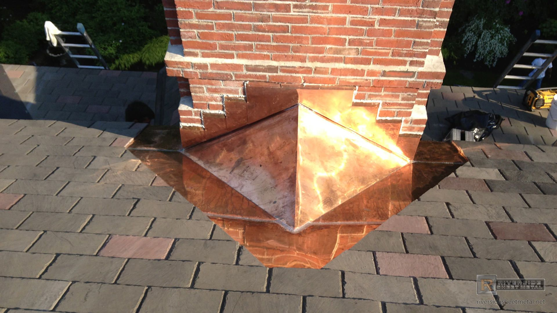 Copper Cricket Installation On Chimney Metal Roof Chimney Design Sheet Metal Fabrication