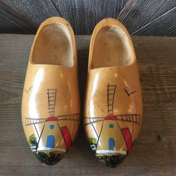 800a53e3ac627 Vintage Wooden Shoes {Dutch Wooden Clogs Dutch Pattern} Tulip Time ...