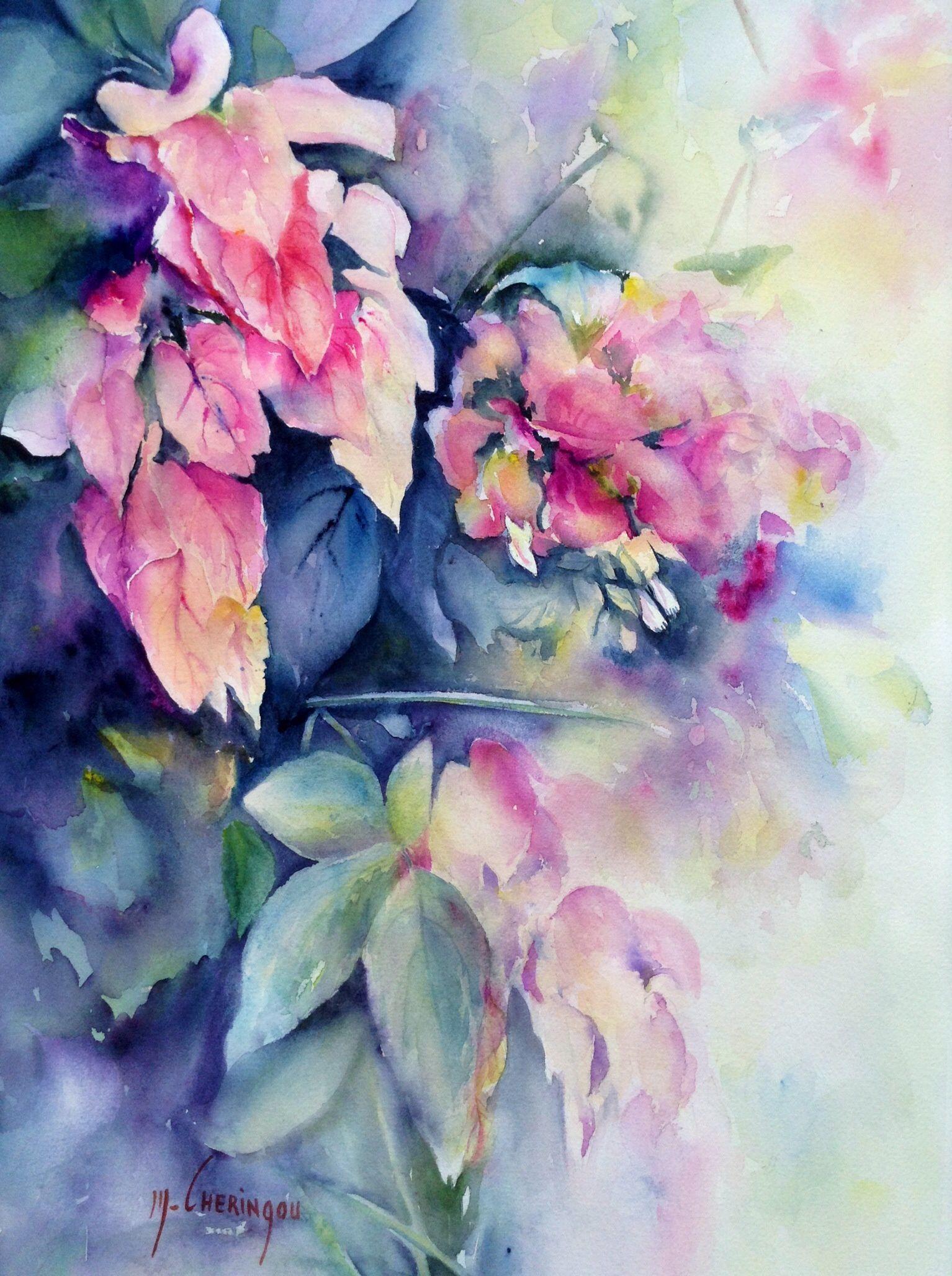 Epingle Sur Fleurs Aquarelle