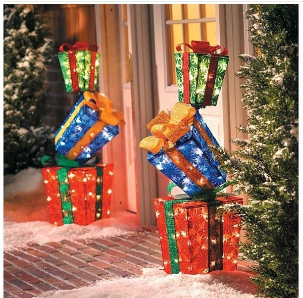 Christmas Outdoor Decoration 2 Lighted Outside Pre Lit Yard Stacked Gift  Boxes #HomeImprovements - Christmas Outdoor Decoration 2 Lighted Outside Pre Lit Yard Stacked