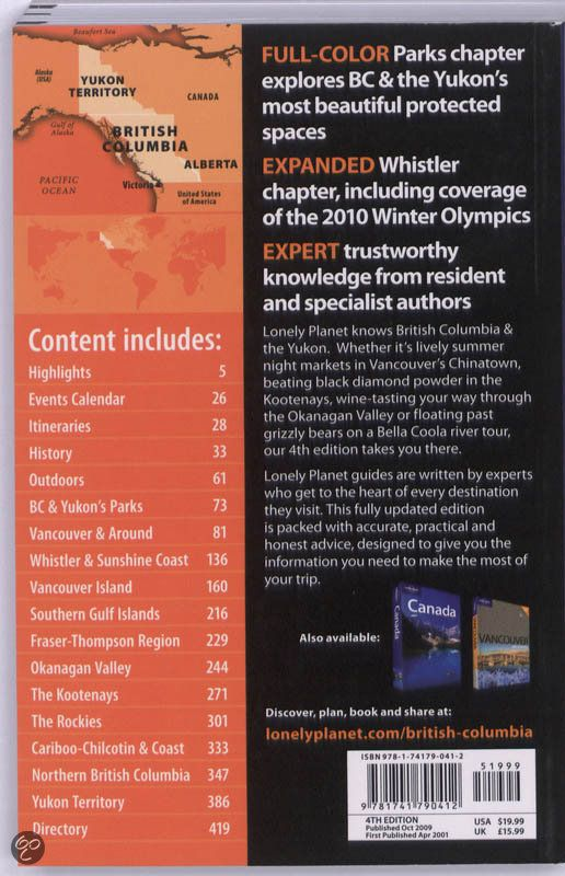 Lonely Planet British Columbia Ryan Ver Berkmoes Graham Neale 9781741790412 Boeken