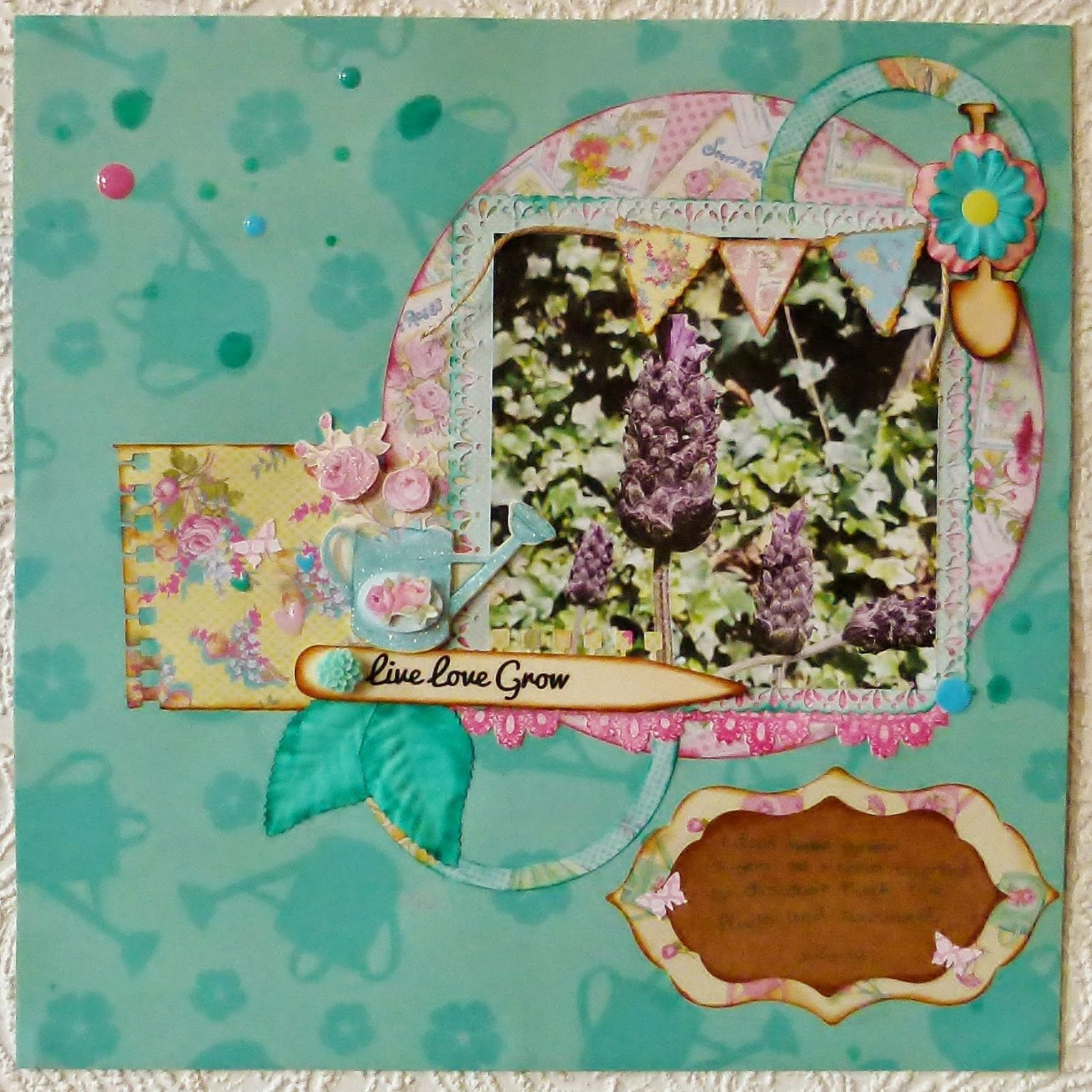 Dovecraft Forget me not layout by Katie Lamb
