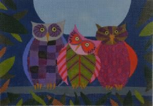 Little Family on 18ct by Zecca, owl needlepoint canvas