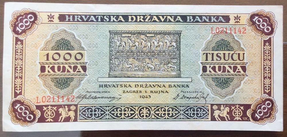 Croatia 1000 Kuna 1943 Unc Kuna Croatia Ebay