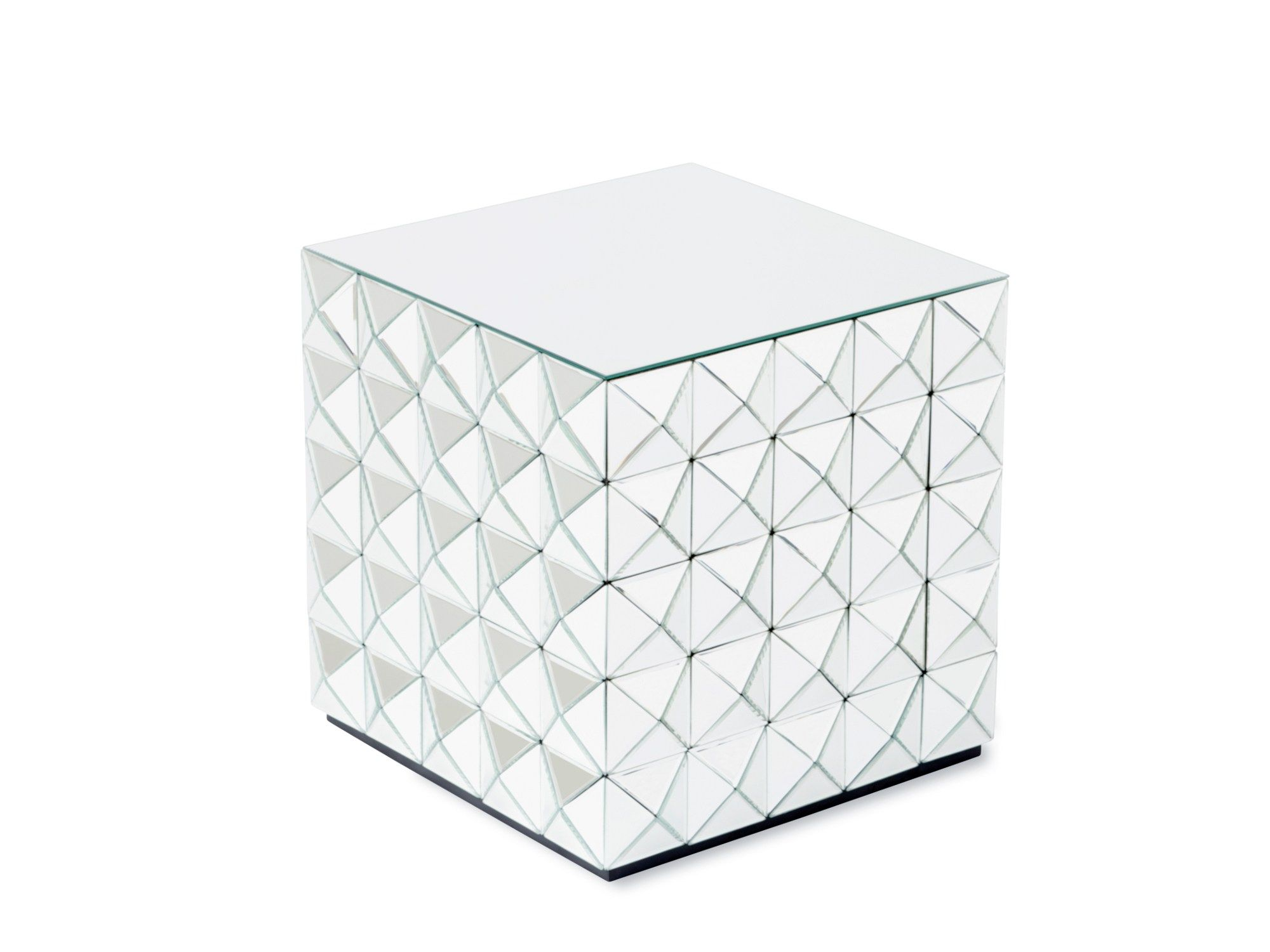HARLEKIN   Reflections Copenhagen | Handcrafted Side Table With 4mm Faceted  Mirror On Black Painted MDF