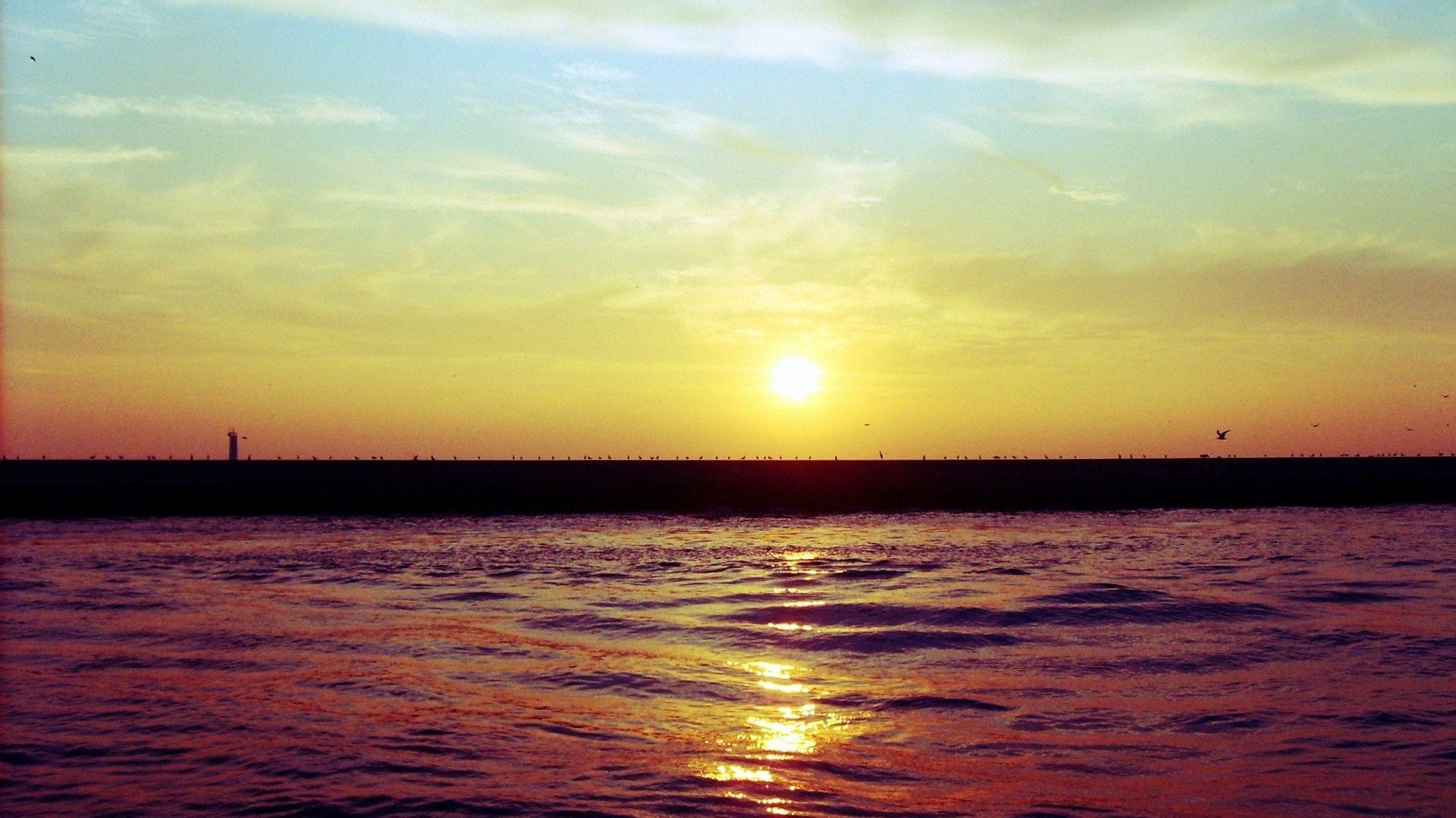 sunset, pier, sea - http://www.wallpapers4u.org/sunset-pier-sea/