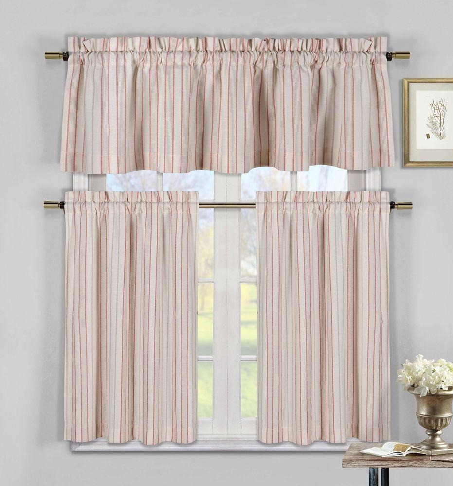 Linen Look Stripe Kitchen Window Curtain Tier Valance Set