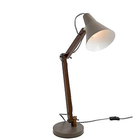 Lumisource Oregon Industrial Adjustable Table Lamp Walnutgrey Office Depot Metal Table Lamps Wood And Metal Table Table Lamp