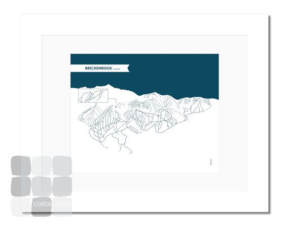 Breckenridge Ski Trail Map - 8x10 - Modern Art Print - reverse color option available