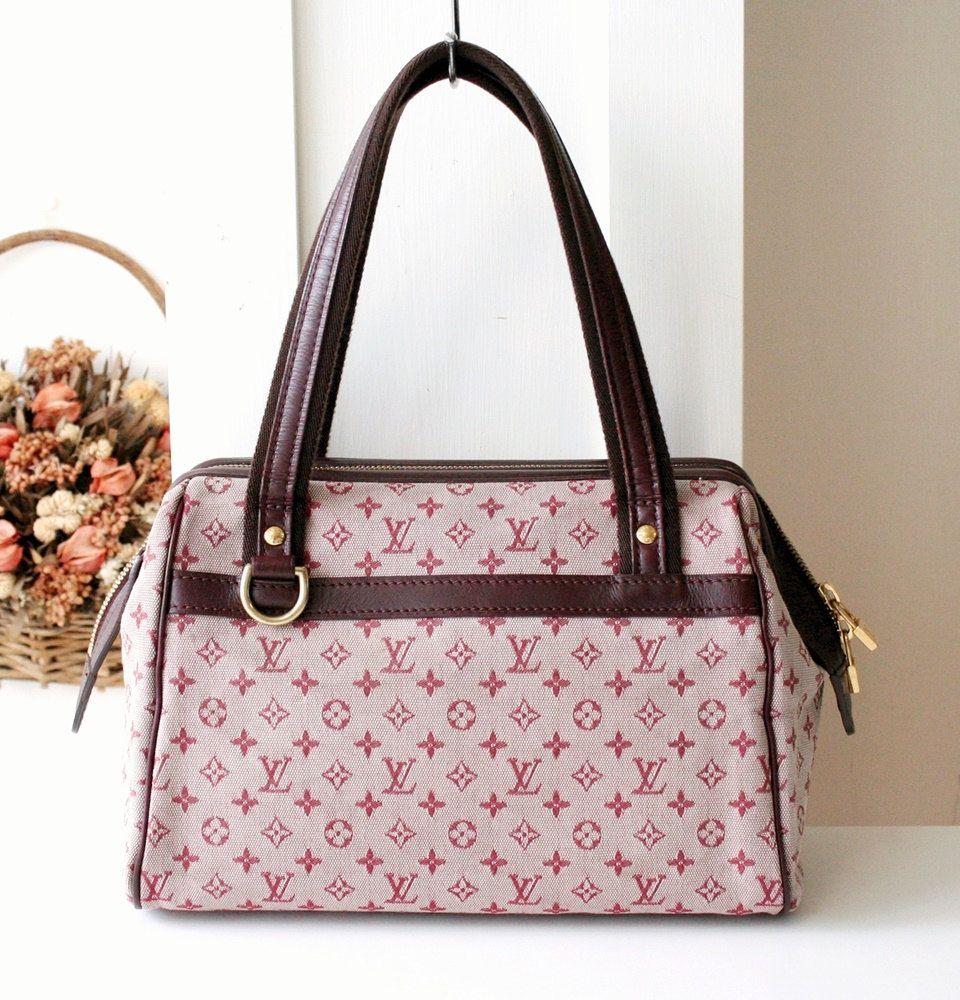 louis vuitton fabric. louis vuitton bag mini lin josephine monogram burgandy fabric tote authentic vintage handbag by allvin on