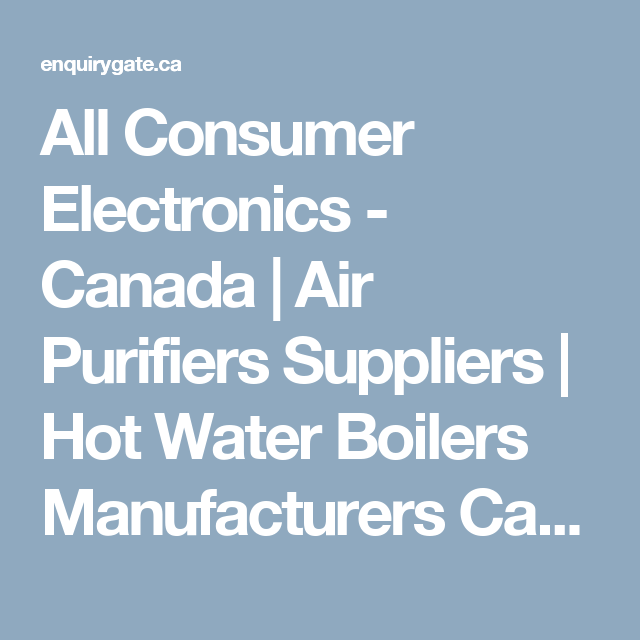 All Consumer Electronics - Canada | Air Purifiers Suppliers | Hot ...