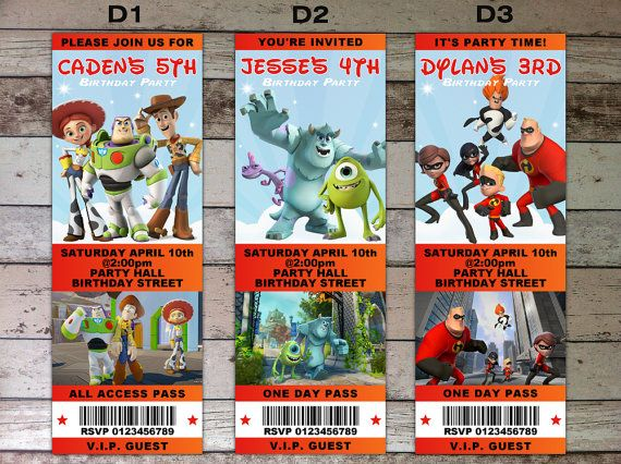 Disney Infinity Personalized Ticket Invitation - Digital File (PDF - printable ticket invitations