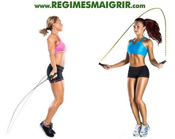 deux femmes font de la corde 224 sauter pour garder une silhouette sport