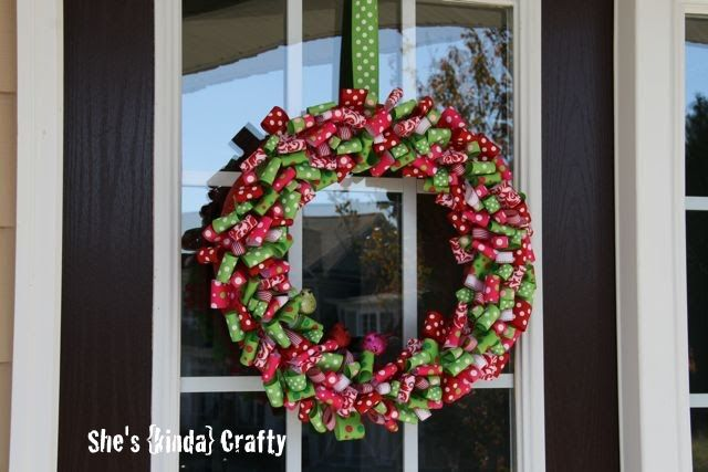 She\u0027s {kinda} Crafty Christmas {RIBBON} Wreath My favorites