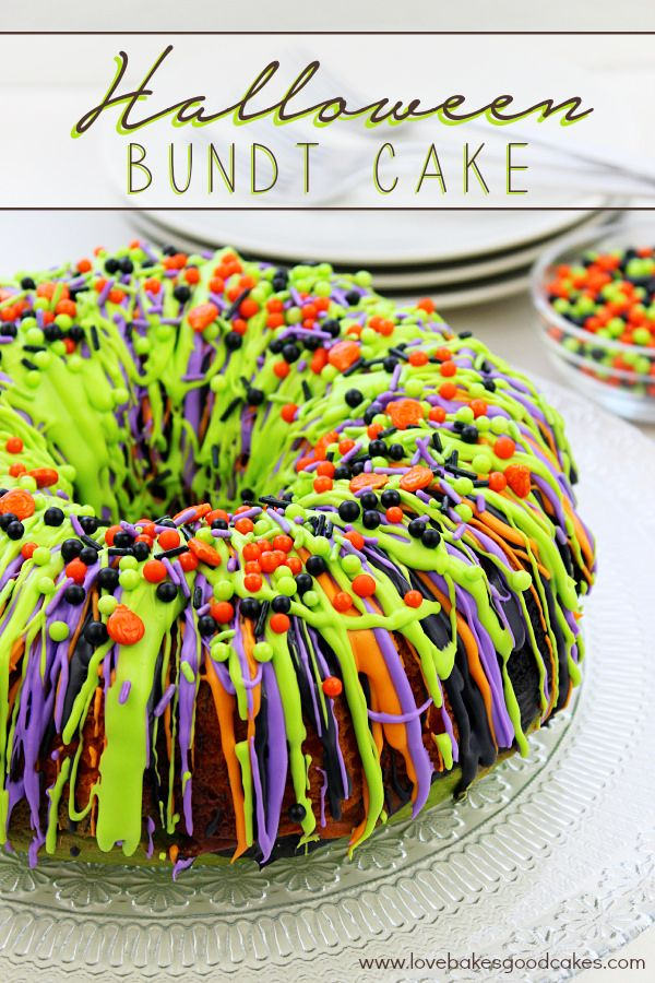 """""""Oooh"""" and """"aah"""" your guests with this impressive Halloween Bundt Cake! It is so colorful and it's easy to make. 