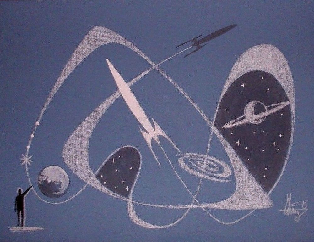 EL GATO GOMEZ PAINTING RETRO 60S SCI-FI PULP ILLUSTRATION SCIENCE SPACE ROCKETS #Modernism